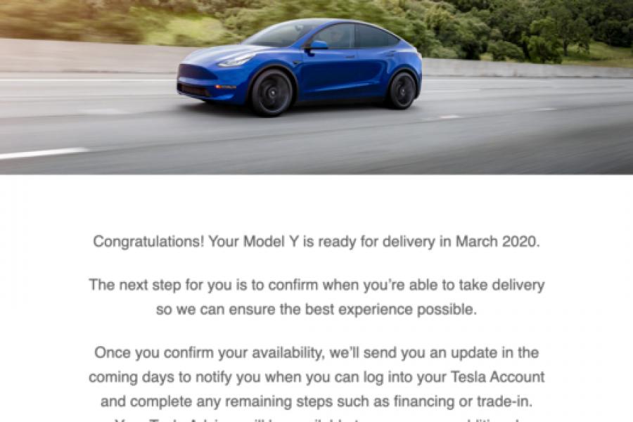 Tesla Model Y Deliveries Starting In March