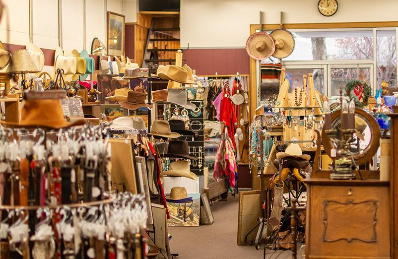 a store full of well lit western gear