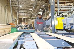 Man sawing lumber in factory