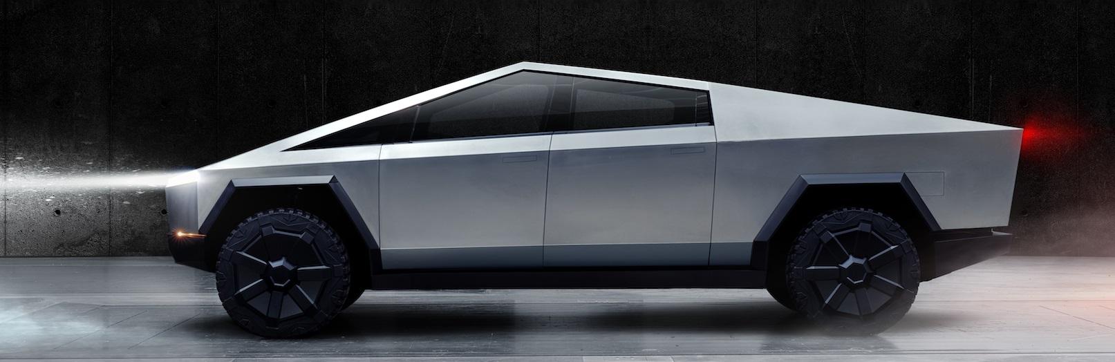 Tesla Cybertruck electric vehicle side view