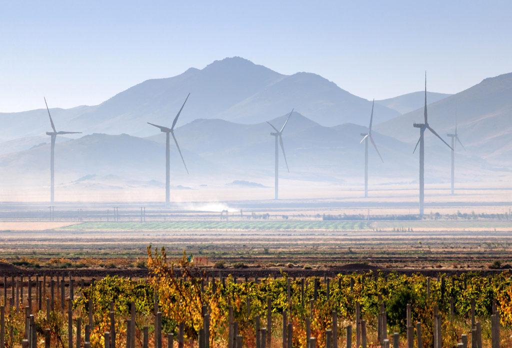Wind turbines near Urmia, Iran. Credit: Kaveh Manafzadeh / Alamy Stock Photo. R9C8R3
